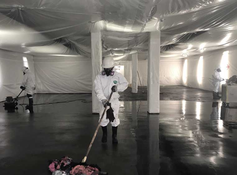 MEC worker cleaning